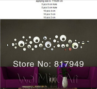 40PCS 3D Mirror Wall Sticker Home  decorative wall clock wall watche Modern design living room wall decor P074