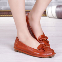 New 2014 Spring Women Shoe Women Flats Genuine Lleather Shoes Woman Brand Soft Leather Summer Shoes