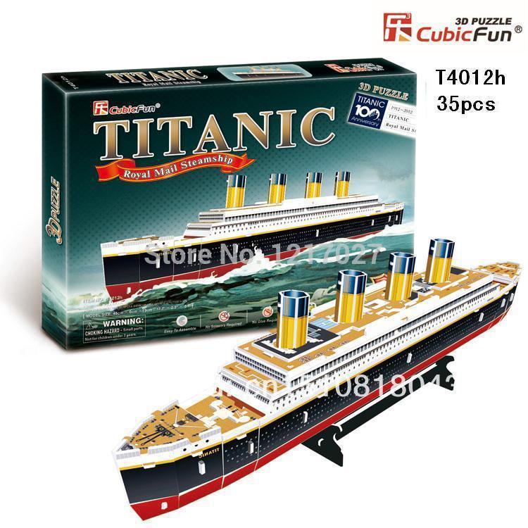 "CUBICFUN CUBIC FUN 3D Puzzle Paper Model, TITANIC Ship Parts Kit, DIY Toy Ship Model- T4012h(35pcs), 45x13x6cm(17.7""x5.1""x2.4"")(China (Mainland))"
