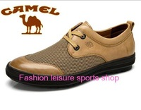 2014 new Hot sale camel summer  flats Reticular Genuine leather cutouts casual breathable men's shoes free shipping size 38-45