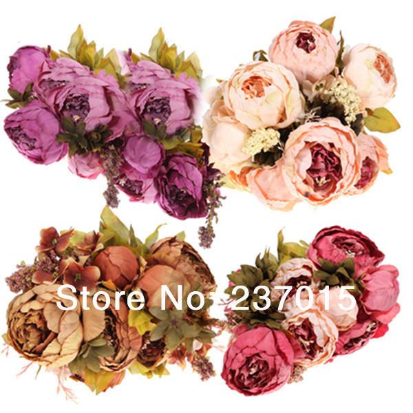 trasporto libero 1 bouquet 8 testa artificiale peonia fiore di seta foglia falso casa festa di nozze decor