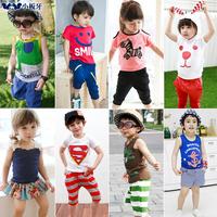 2014 summer children's clothing cartoon short-sleeve capris t-shirt sports set child baby child male female child 7308