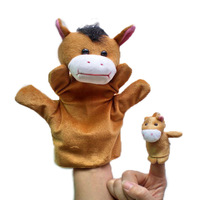 Chinese Zodiac Horse 5set/lot Baby Plush Toy,Story Talking Props,Stuffed Dolls( Set of Hand Puppets+Finger Puppets Animals)
