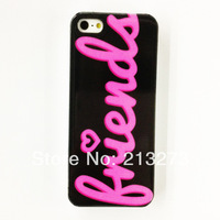 Min Order is US$ 15 (Mix Order) Punk Rose Pink Friends Love Heart Pattern Plastic Cell Phone Case Fits 5/5S  Free Shipping