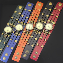 Fashion 1 Pc  Star Leather  Band Women's Woman Lady GirlsVintage Style Jewelry Bracelet Gifts Quartzs Wrist Watches