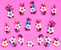 Min.order is $5 New 2015 3D Nail Art Sticker Decal Colorful Flowers Black Cameo Clear Crystals Design French Manicure Foils