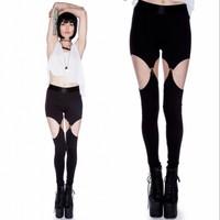 Fashion Sexy suspender leggings personality vintage spaghetti strap legging pants garter slim black legging neon powder