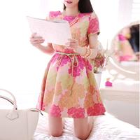 Free shipping Plus Size New Fashion 2014  Womens Spring Summer Print Flower Cute Girl Dress Brand