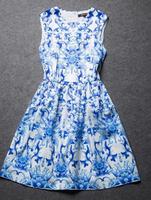 2014 Vintage Printed Round collar nip-waisted giant swing Sleeveless Dress Free shipping