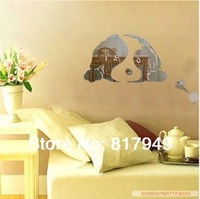 Lovely dogs  mirror wall sticker ceiling decoration decal 1MM thick PS plastic mirror home decor P111