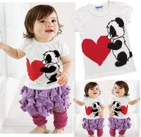 5pcs/lot new 2014 baby girl summer clothing set white panda print shirt+purple pleats skirt set fluffy skirt baby girl