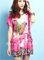 Free shipping fashion summer new bohemian dress Korean ice silk dress colored butterflies