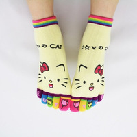 6pairs/lot Cute Kitty cartoon Kawaii Five fingers toe socks cotton women's socks novelty girl's socks promotion gift