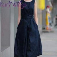 2014 Spring Summer Women Fashion Linen Dress Europe Girls Loose Casual Ramie Maxi Long Sleeveless Sundress Plus Size 4XL PH1209