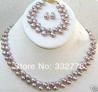 Jewellery 7-8mm FW purple pearl necklace earring set