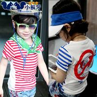 2014 summer children's clothing clown stripe child baby child male female child short-sleeve vest t-shirt 4260