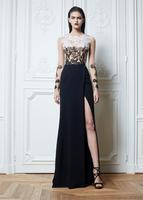 2014 Zuhair Murad Evening Dresses A-line Scoop Cap Sleeves Satin Lace Floor Length Black Lace Slit Long Prom Dresses Gown