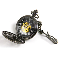 Men Pocket Watch Hollow OUT Machine New Arrival Fahion Boys Steampunk Web Mechanical Hand-winding High Quality L05542