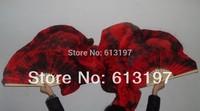 1 pair  silk Handmade tie-dye fan veil  hot selling belly dance fan total 180cm  long silk fan veil , belly dance silk fan veil