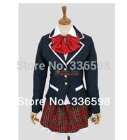 japan anime cartoon Cosplay costumes Grid maid dress women  flower school uniform chuunibyou demo koi ga shitai Takanashi Rikka