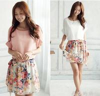 2014 New Women's Charming Summer Crewneck Chiffon Short Sleeve Floral Casual Dress