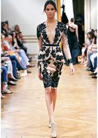 2014 Zuhair Murad Cocktail Dresses Sheath Deep V-neck Long Sleeves Champagne Satin Appliques Knee Length Homecoming Dress
