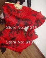 a lots 5pair silk Handmade tie-dye fan veil hot selling belly dance fan total 180cmmlong silk fan veil belly dance silk fan veil