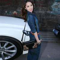 Spring Summer Fashion New Women's Thin Blue Slim Jeans 4/3 Sleeve Ankle-Length Plus Size Long Denim Dress