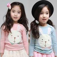 2014 spring children's clothing rabbit fabric baby female child long-sleeve T-shirt 4899 basic shirt