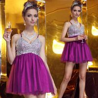 Lan kwai fong 2242 bride purple crystal diamond puff skirt silks and satins net fabric bridesmaid dress