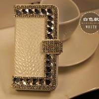 Crocodile Grain Handmade corner bling diamond Flip pu leather case with card holder FOR HTC ONE Mini M4