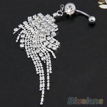 Ombligo de plata del cristal plateado de la borla cuelga el anillo del ombligo del Bar Piercing 0002 01B2(China (Mainland))