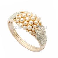 Free shipping,New 2014 Elegant Jewelry Women Cuff Bangle Bracelet 18K Rose Gold Plated Crystal Pearl Bracelet