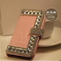 Crocodile Grain Handmade corner bling diamond Flip pu leather case with card holder FOR HTC Desire 600 606W