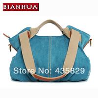 2014 Women's fashion Handbags color block  two shoulder cross-body canvas  big tote bag 3 colors