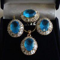 New Charming Crystal Amethyst Topaz Gemstone Jade Earrings Pendants Rings Sets