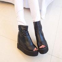 Spring open toe platform wedges platform shoes platform boots elevator shoes platform women boots NX38