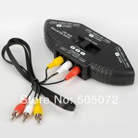 Free shipping New Black 3 Input 1 Output Audio Video AV RCA Switch Switcher AV Cable F0489