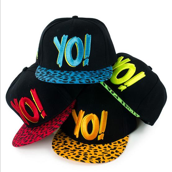 New 2014 Cap,YO! Letters Leopard Pattern Flat Brim Baseball Hat Hip Hop Snapback Caps For Adult Free Shipping 7 Colors YSM-080(China (Mainland))