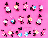 Min.order is $5 New 2014 3D Nail Art Stickers Decal Beauty Colorful Peony Black Butterfly Cameo Design French Manicure Foils