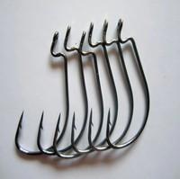 big game black nickle soft lure bait fishing  hook 2#/1# ,  1/0-5/0 curve shank lure hook
