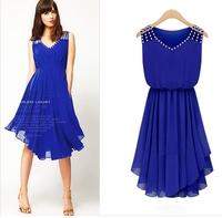 2014 New arrive women's cute beading chiffon dress, irregular diamond dress,sexy dress for women