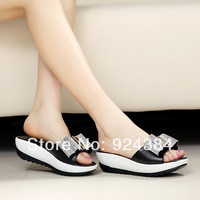 Summer 2014, the new, muffin platform sandals, shoes, leather, non-slip, fashion, brand, indoor sandals, free shipping