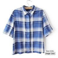 HZA070 Brand New Fashion Women Classic Plaid Print Shirts Turn-down Collar Short Sleeve Cotton Casual Blue Blouses Tops