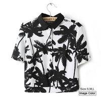 HZA059 Brand New Fashion Women Elegant Palm Tree Print Shirts Turn-down Collar Short Sleeve Slim Short Casual Blouses Tops