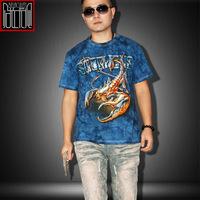 2014 fashion cotton 3D men's t shirt camisa masculina casual short sleeve t shirts for the summer rock metal navy blue tee shirt