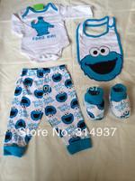 Free shiping!! US Big Brand Seasame Street Baby Sets Newborn Baby Clothes 4pcs( Vest,Pants,Slobber Cloth,Socks) Factory Price