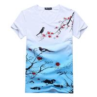 2014 summer new fashion men's t-shirt Men's Chinese style V-neck short-sleeved t-shirt printing wholesale free shipping