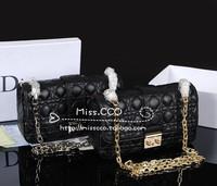 D miss lady bag genuine leather sheepskin leather 2.55 plaid chain women's handbag