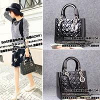 Eternal classic lady bag dimond Small plaid japanned leather genuine leather black 5 handbag female shoulder bag